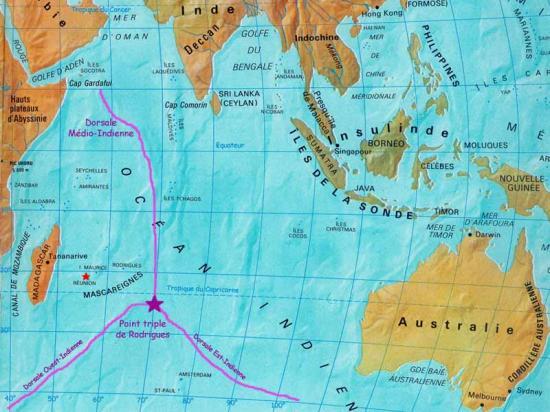 Carte ocean indien grand
