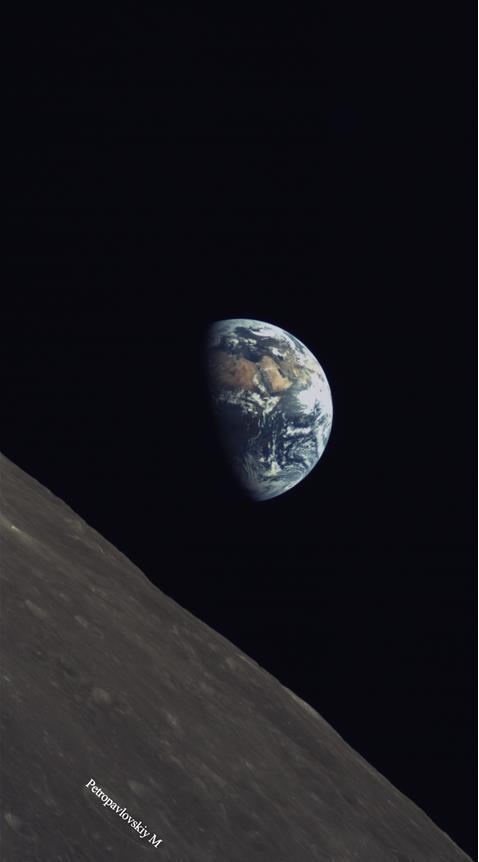 La terre et la lune photographiees le 8 juin par longjiang 2 dslwp b hemisphere nord de la face cachee de la lune