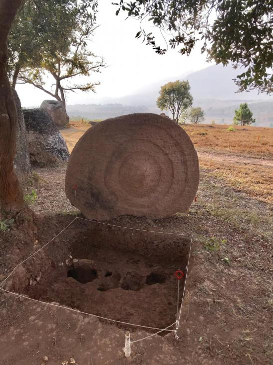Laos jarsetdisc decorated with concentric rings at site 2 decoration was facing downward