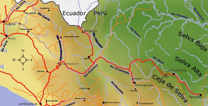 Map chachapoyas perou