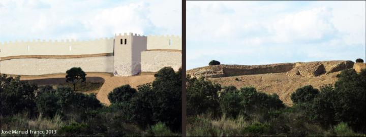Recreacion de la muralla tartesica de tejada