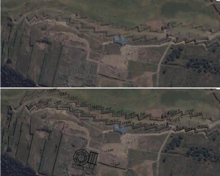 Saksaywaman satellite photograph and alignment angles