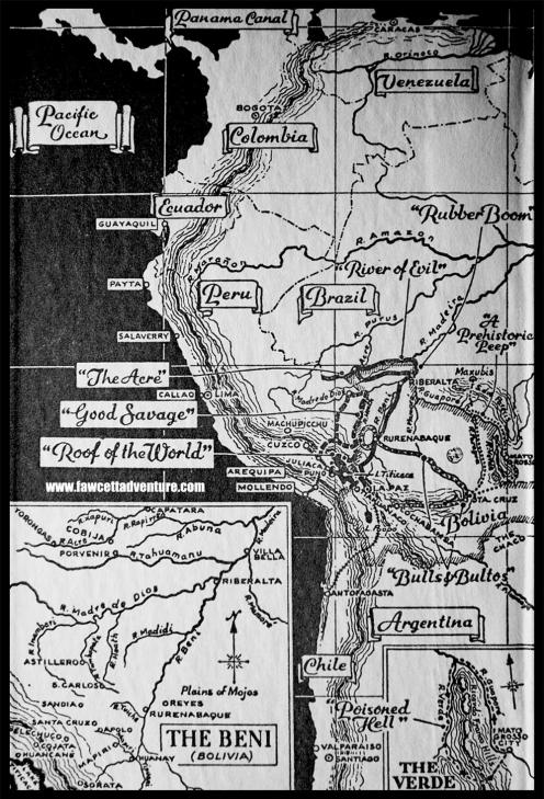 1 map mato grosso fawcett expedition
