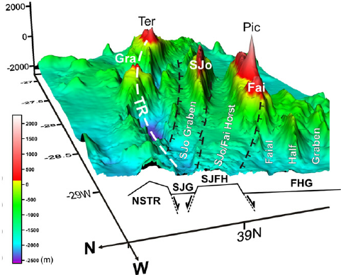 3d surface with interpreted main tectonic framework viewed from wnw tr is the terceira