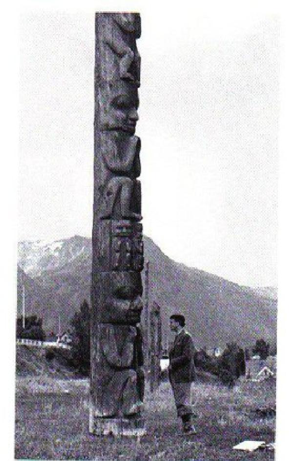 Arlette seligmann kurt seligmann in front of a gitksan totem pole british columbia