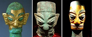 Bronze heads sanxingdui china mini