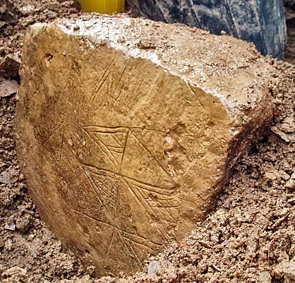 Engraved stone from the ness of brodgar 1