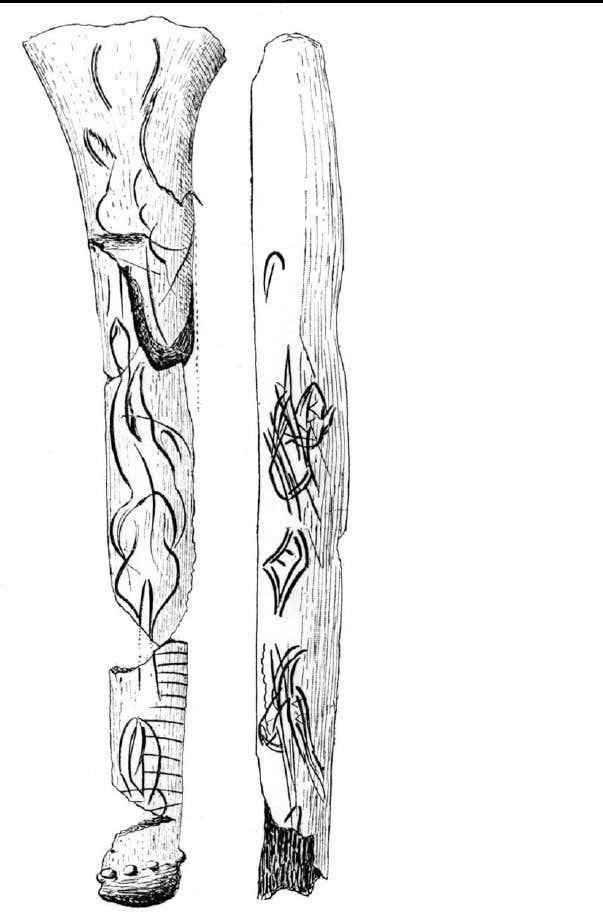 Figure 19 bois de renne et cote graves de motifs en feuille et de motifs enigmatiques figures feminines vues de face segments d animaux etc musee d archeologienationale releves hen