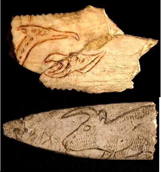 Figures enigmatiques fantastiques ou composites gravees sur lissoir rochereil musee national de prehistoire emilie lesvignes