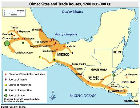 Guatemala olmec map