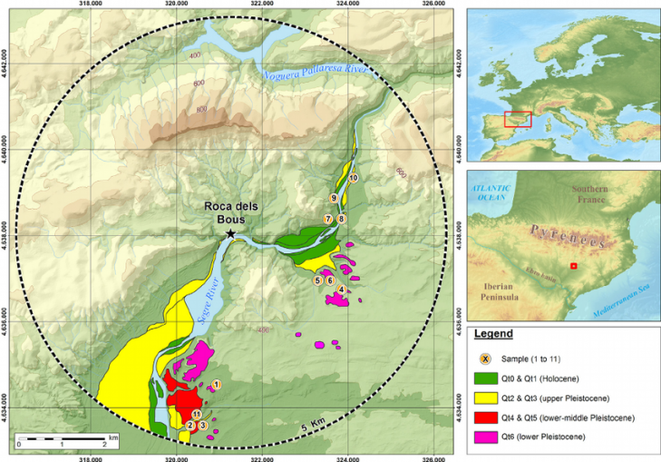 Location of terrace deposits and samples in a 5 km radius of roca dels bous