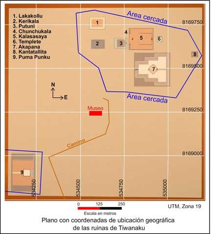 Plano de tiahuanaco con coordenadas