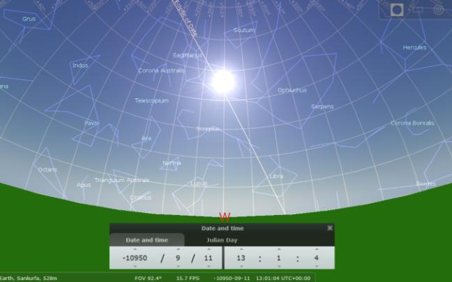 Poisition du ciel au solsticeete vers10950bc