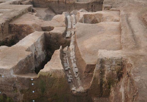 Ruins ancient drainage system china pingliangtai xinhua