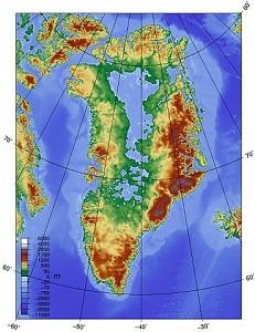Topographic map of greenland bedrock mini